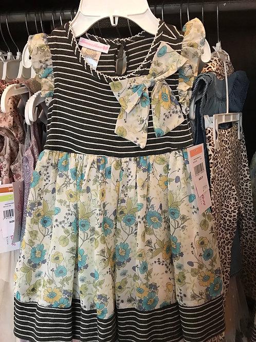 Bonnie Jean Stripes and Flowers Dress