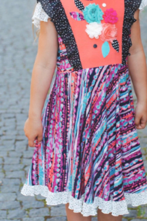 Z.A.Z.A Couture Coral Printed Dress