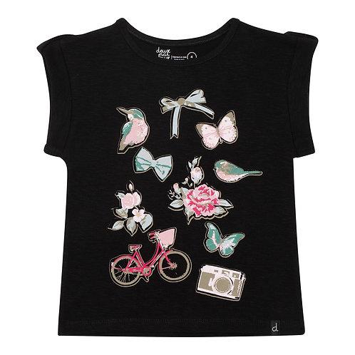 Deux Par Deux Black Slub Cotton Romantic Elements Print T-shirt