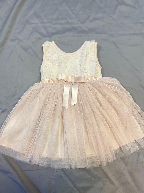 Popatu Beige Floral Tulle Dress