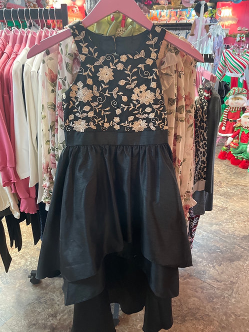 Bonnie Jean Black High Neck High-low dress