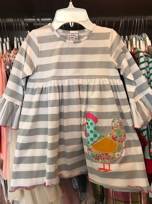 Three Sisters Gray Striped Hen Dress