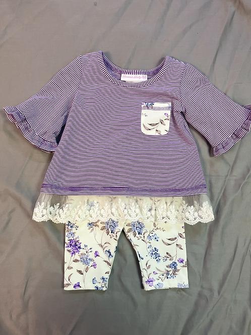 Bonnie Jean Purple Stripes 2PC Set