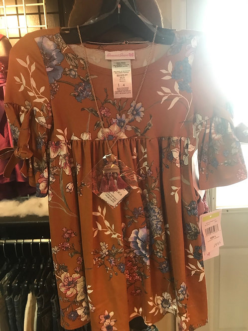Bonnie Jean Tan floral Dress