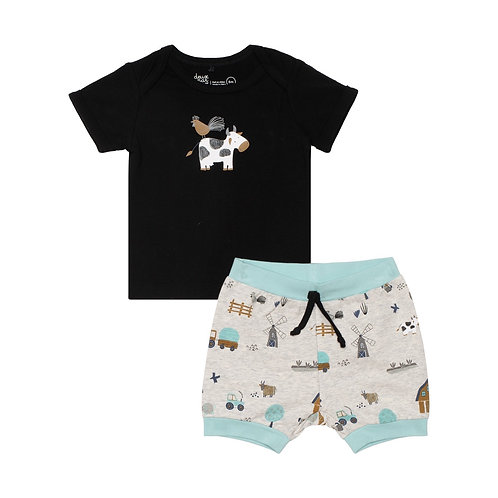 Deux Par Deux Cow Farm 2PC Short Set