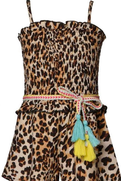 Baby Sara Animal Print Smocked Top Romper