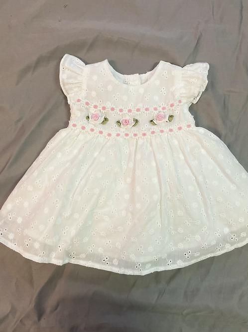 Bonnie Jean White Eylet Lace Dress