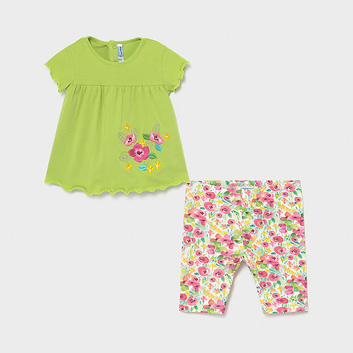 Mayoral Green Floral 2PC Set