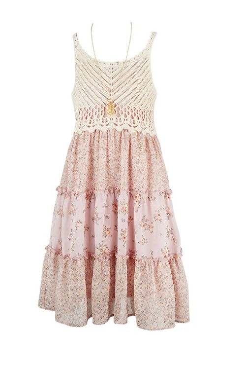 Amy Byer CROCHET TOP DRESS AND NECKLACE (BEAUTEES)