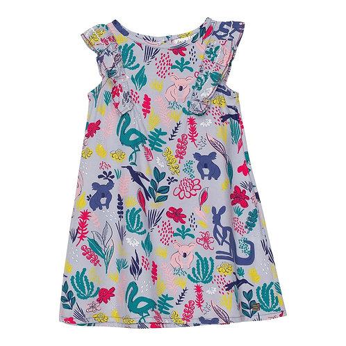 Deux Par Deux Printed Soft Woven Dress with Ruffles