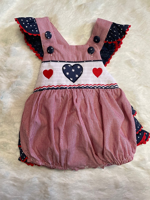 Lil Cactus Red White and Blue Bubble Romper