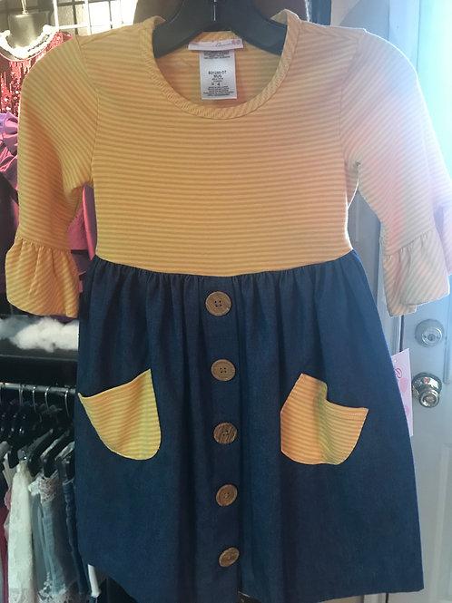 Bonnie Jean Mustard and Denim Dress
