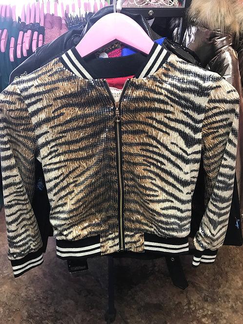 Hannah Banana Tiger Sequin Bomber Jacket