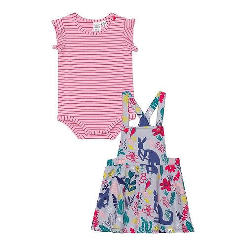 Deux Par Deux Striped Bodysuit and Printed Soft Woven Jumper Set