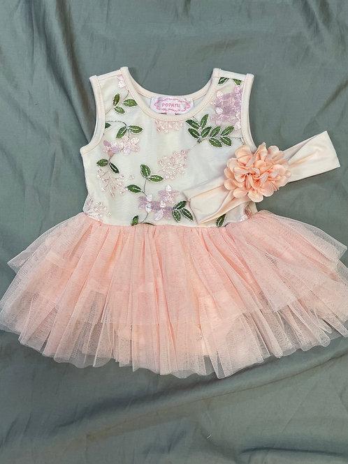 Popatu Peach Floral TuTu Onesie