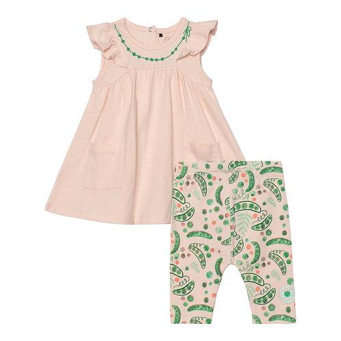 Deux Par Deux Sleeveless Dress and Pea Print Legging Set