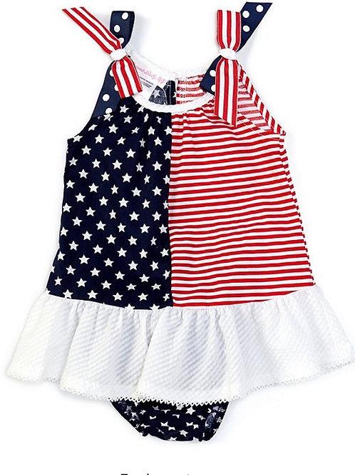 Bonnie Jean Americana Stars-And-Striped Trapeze Dress