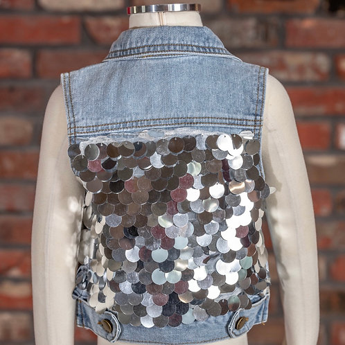 M.L. Kids Sequins Back Denim Vest