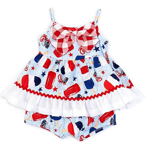 Bonnie Jean Americana Mixed-Media Popsicle Fit-And-Flare Dress