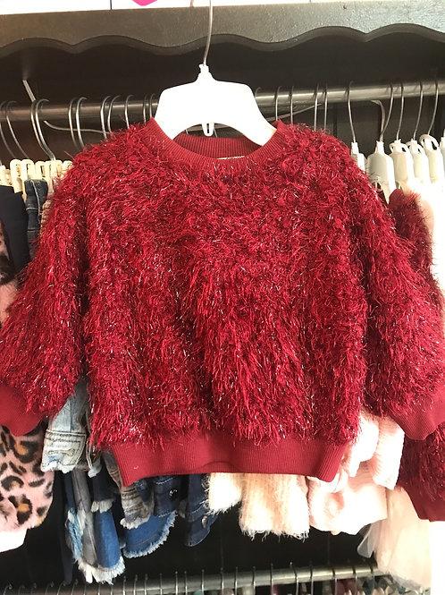 M.L. Kids Burgundy Shimmer Sweater
