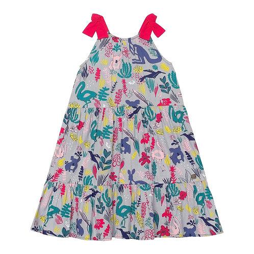 Deux Par Deux Printed Soft Woven Dress with Tie Straps