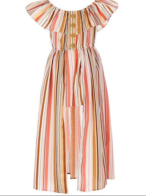 Bonnie Jean Striped pattern Ruffled round neckline Ruffled cap sleeves Pull-on c