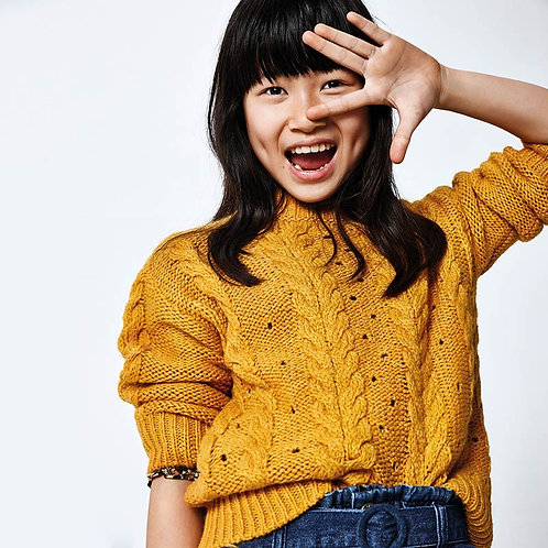 Mayoral Mustard Cable Knit Sweater
