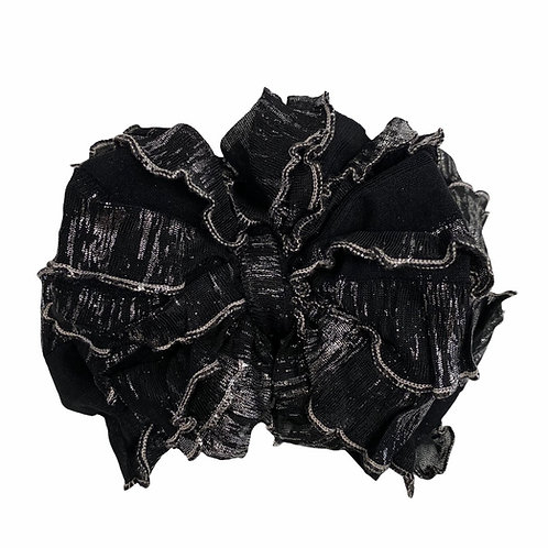 In Awe Black Shimmer Ruffled Headband