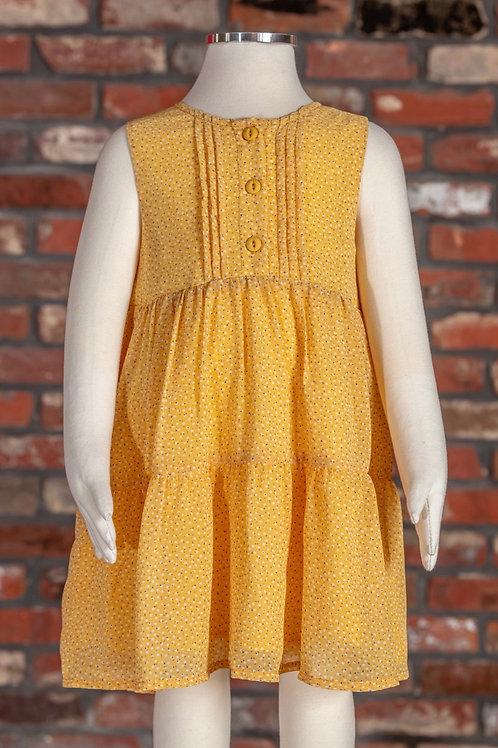 M.L. Kids Pleated Mini Polka Dots Dress