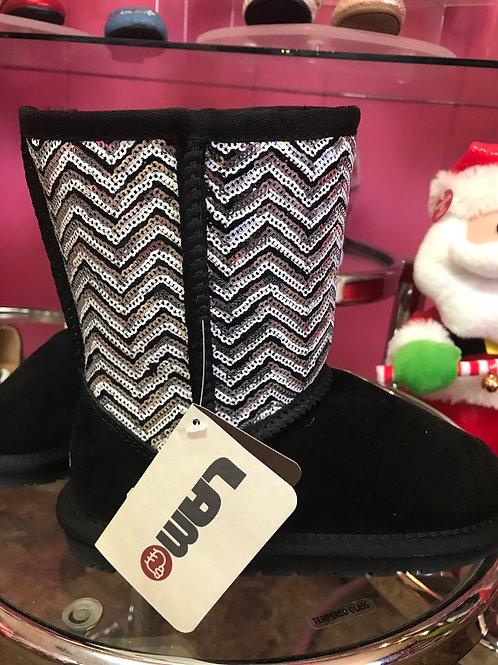 Lamo Black Sequin Chevron Ankle Snow Boots