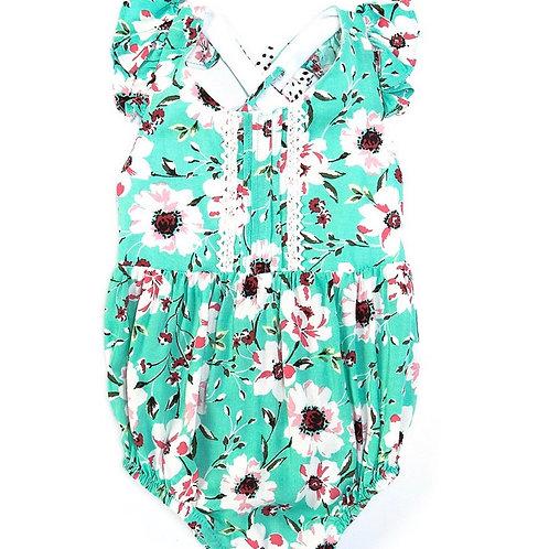 Bonnie Jean Bow-Back Floral Bubble Bodysuit