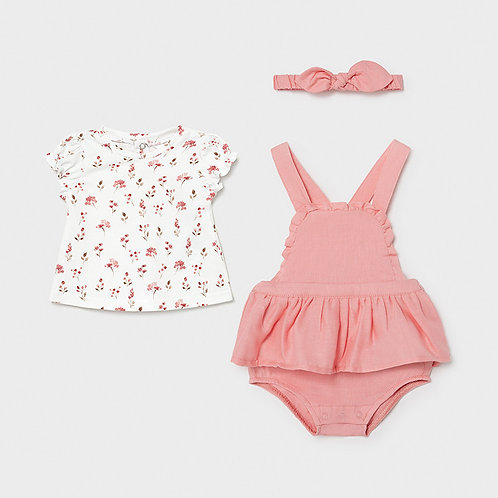 Mayoral Floral Overall Onesie Set