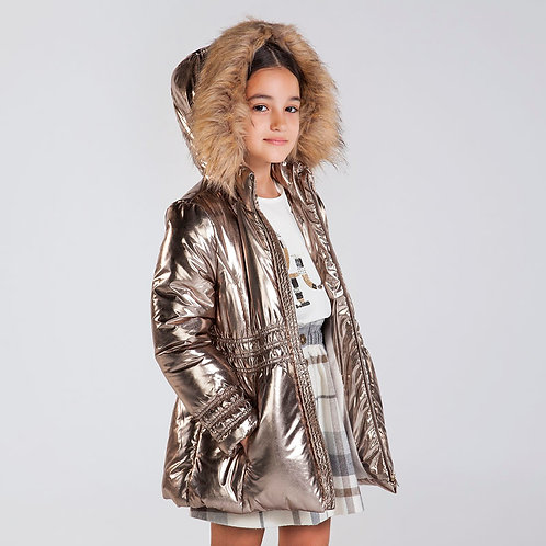 Mayoral Faux Fur Lined Gold Coat
