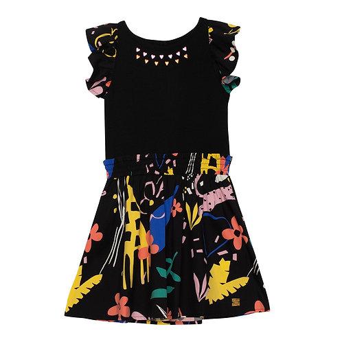 Deux Par Deux Jungle Print Dress With Studs
