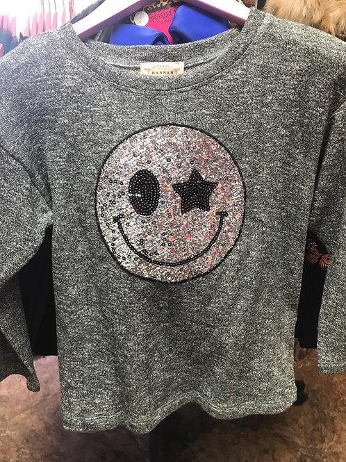 Hannah Banana Gray Smiley Sweater