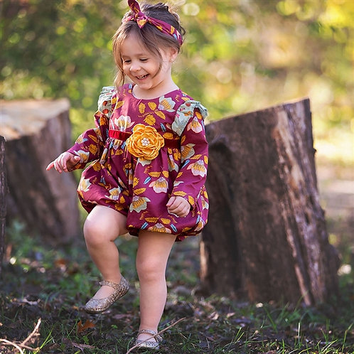 Haute Baby Mulberry Bloom Bubble Romper