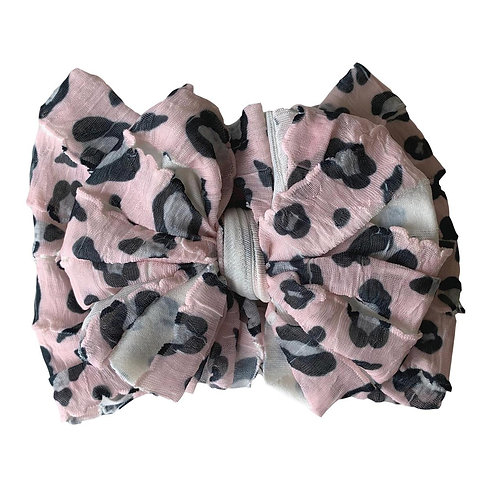 In Awe Pink Leopard Ruffled Headband