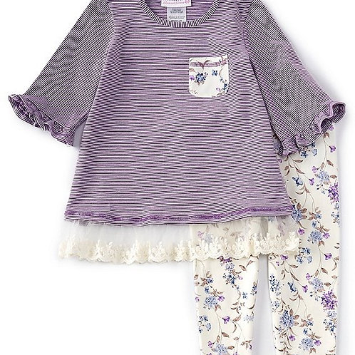 Bonnie Jean Purple Stripes 2PC Set