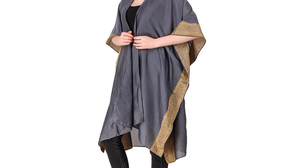 Grey Vintage Sari Kimono