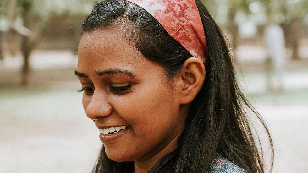 Pink Vintage Sari Headband