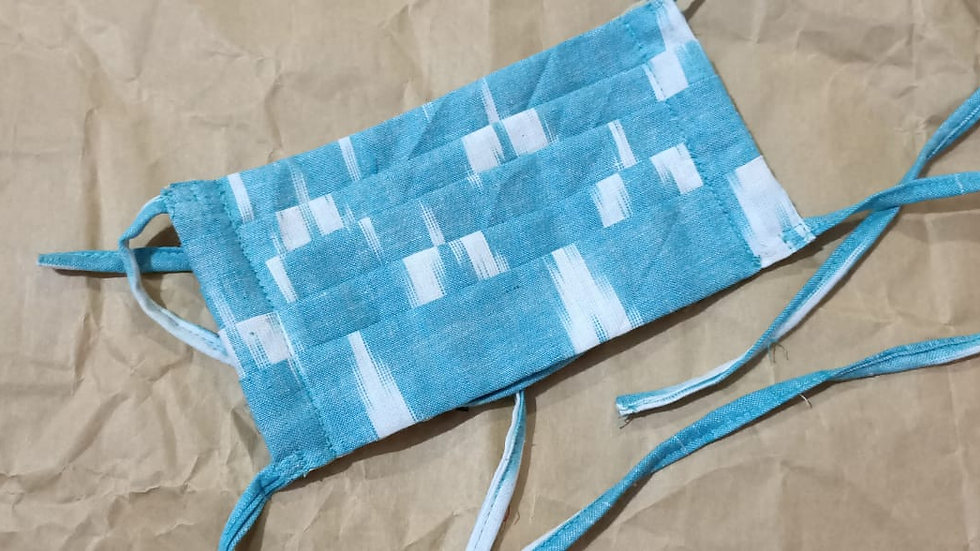 Sea Green Ikat Double Layer Face Mask with Tie Closure