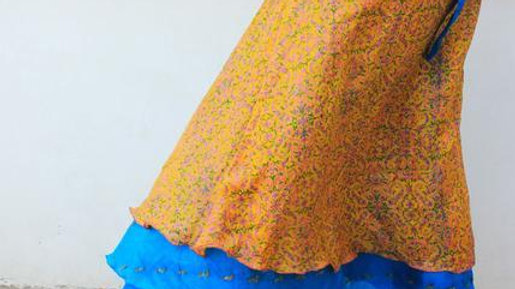 Yellow & Blue Wrap Skirt