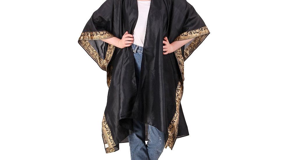 Black Vintage Sari Kimono