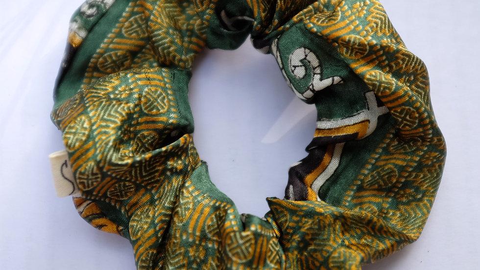 Green Sari Scrunchie Set
