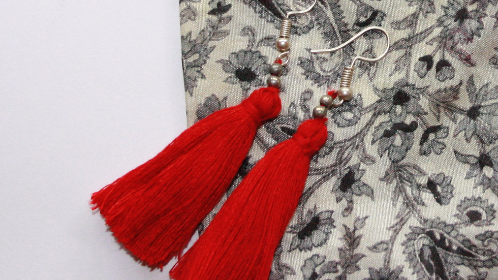 Red Tassel Earrings