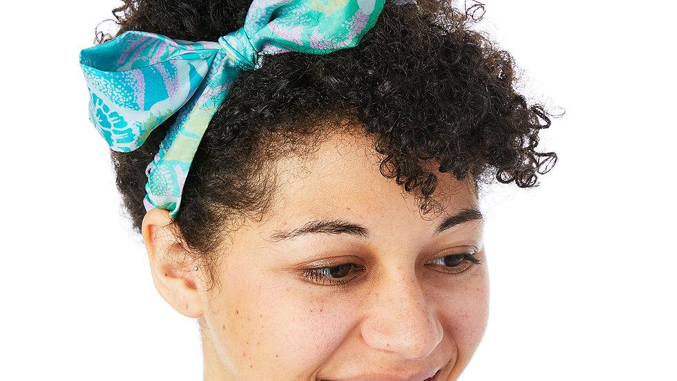 Blue Braided Sari Tie Headband