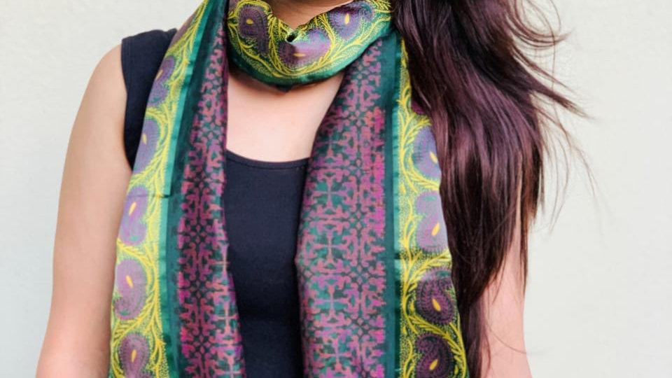 Vintage Purple Sari Scarf