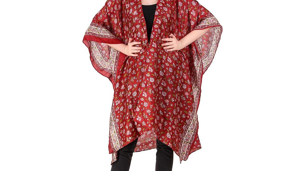 Red Vintage Sari Kimono