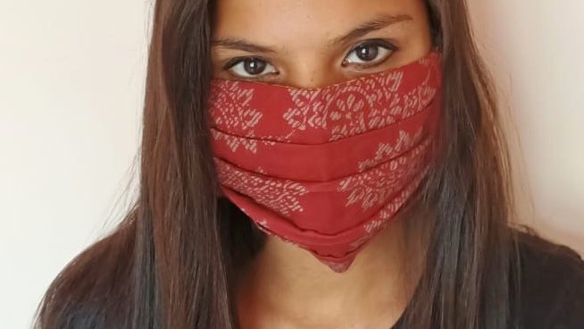 Block Print Cloth Double Layer Mask with Filter pocket elastic loops