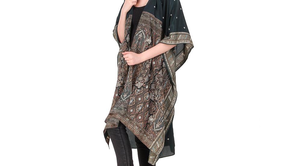 Green Vintage Sari Kimono